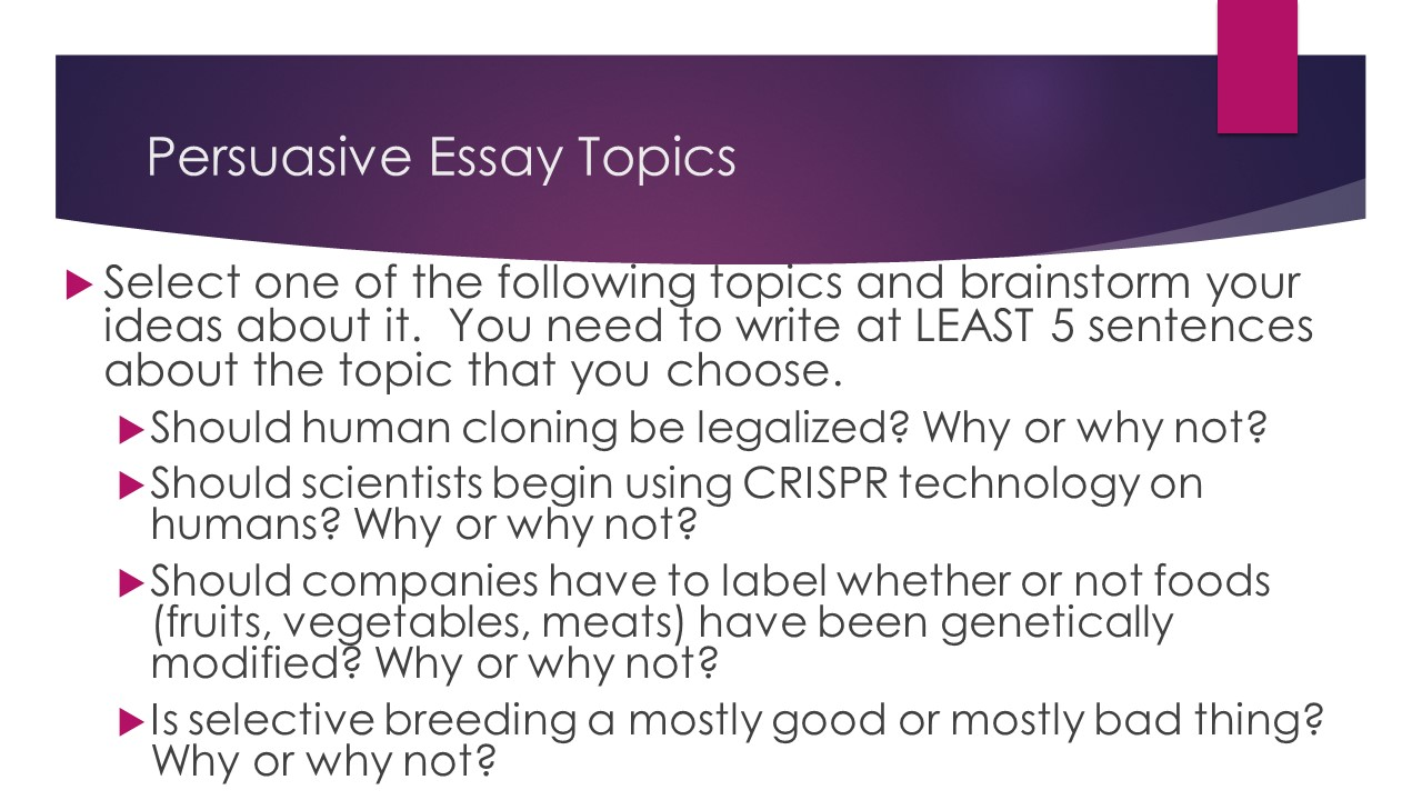 persuasive essay 101 Many students struggle when coming up with good persuasive speech topics that's why today we want to give you some ideas regarding that.